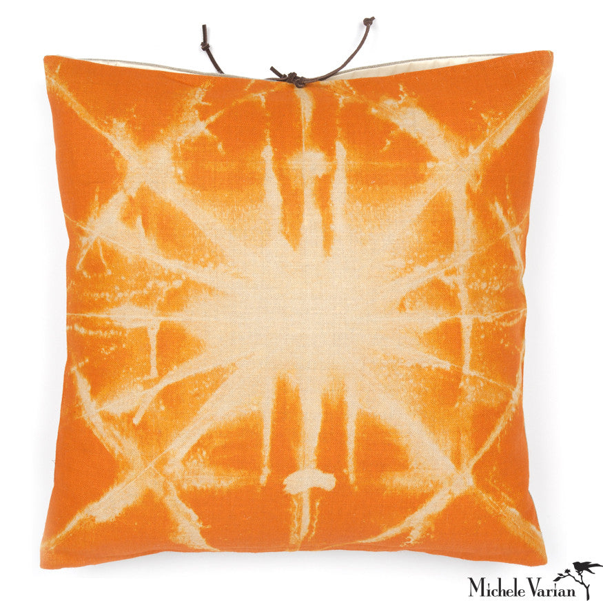 Printed Linen Pillow Starburst Orange 16x16
