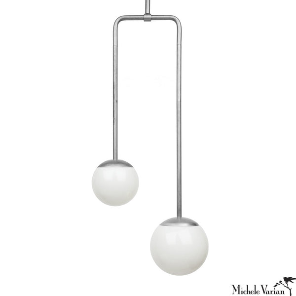 Double Circuit Pendant Globe Light Fixture in Steel
