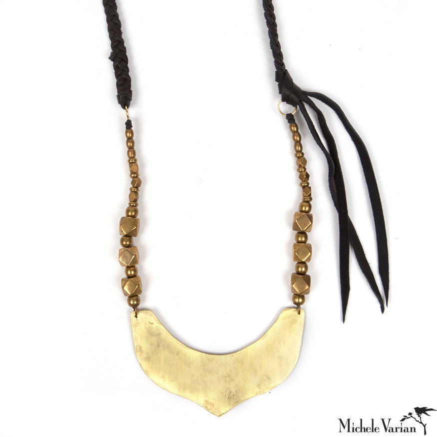 Brass and Leather Stella Necklace