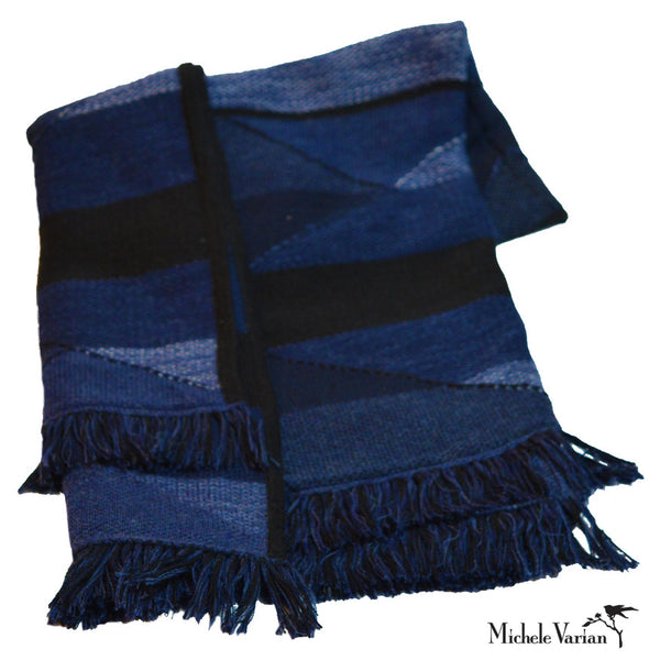 Striped Triangle Indigo Alpaca Throw