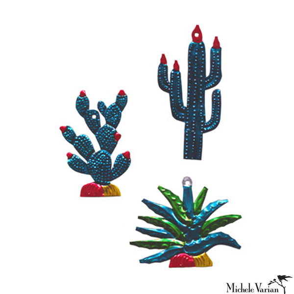 Succulent Cactus Tin Ornament