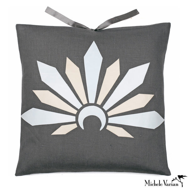Linen Applique Pillow Sunrise Carbon 18x18