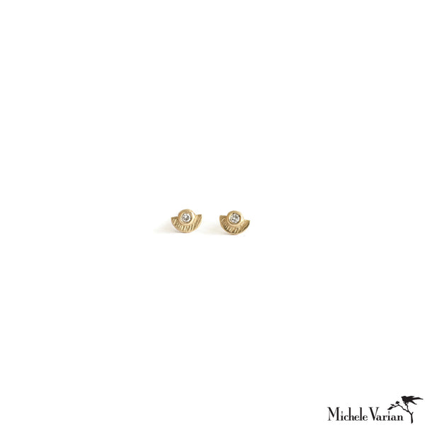 Sunshine Diamond Gold Stud Earrings