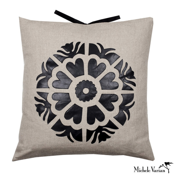 Linen Applique Pillow Suzani Pinwheel Natural 22x22