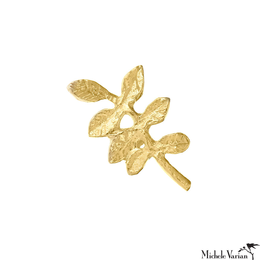 Verity Leaf Gold Single Stud Earring