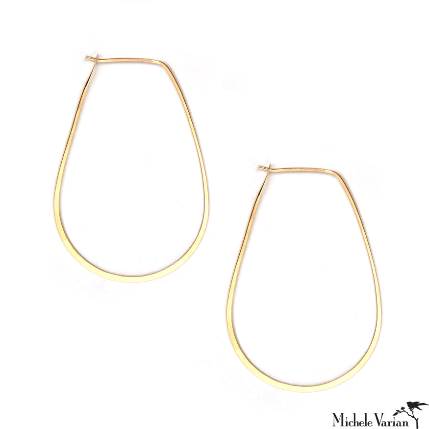 Gold Tear Drop Hoop Earrings