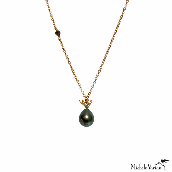 Black Tahitian Pearl and Gold Coral Branch Necklace