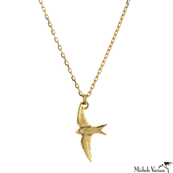 Teeny Tiny Swallow Gold Necklace