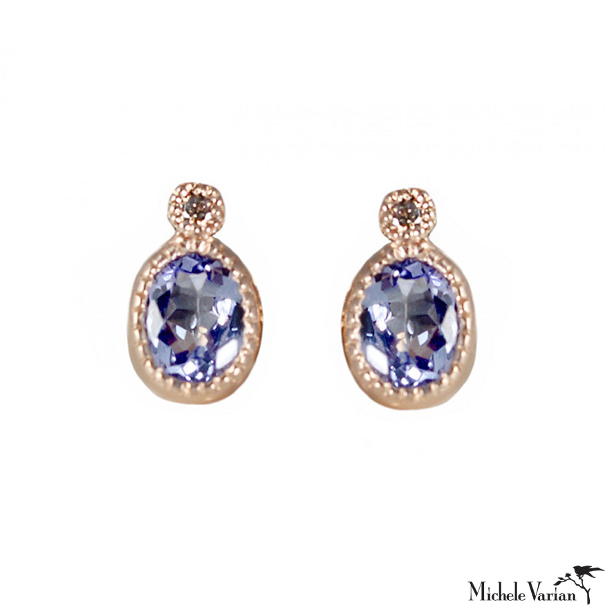 Milgrain Tanzanite Rose Gold Stud Earrings