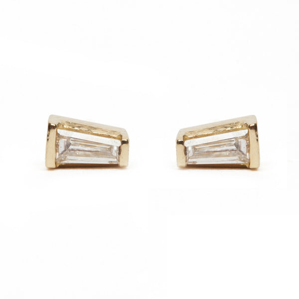 Tapered Baguette Diamond Stud Earrings