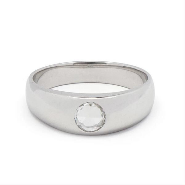 White Gold Tapered Ring with Diamond