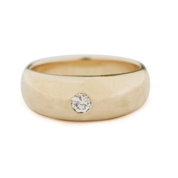 Solid Gold Tapered Ring with Diamond