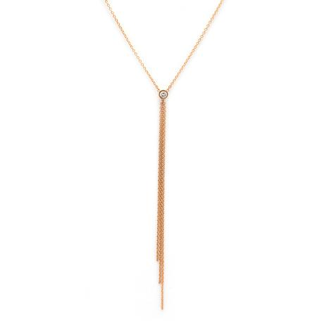 Tassel Lariat Necklace With Diamond