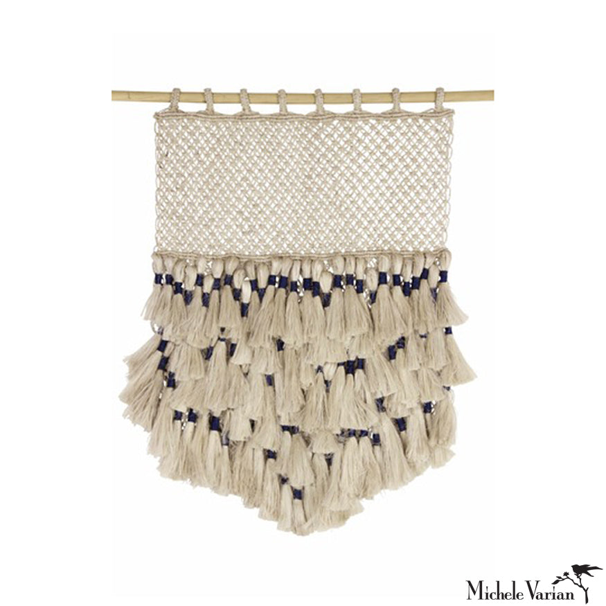 Macrame Wall Hanging in Natural and Indigo Jute