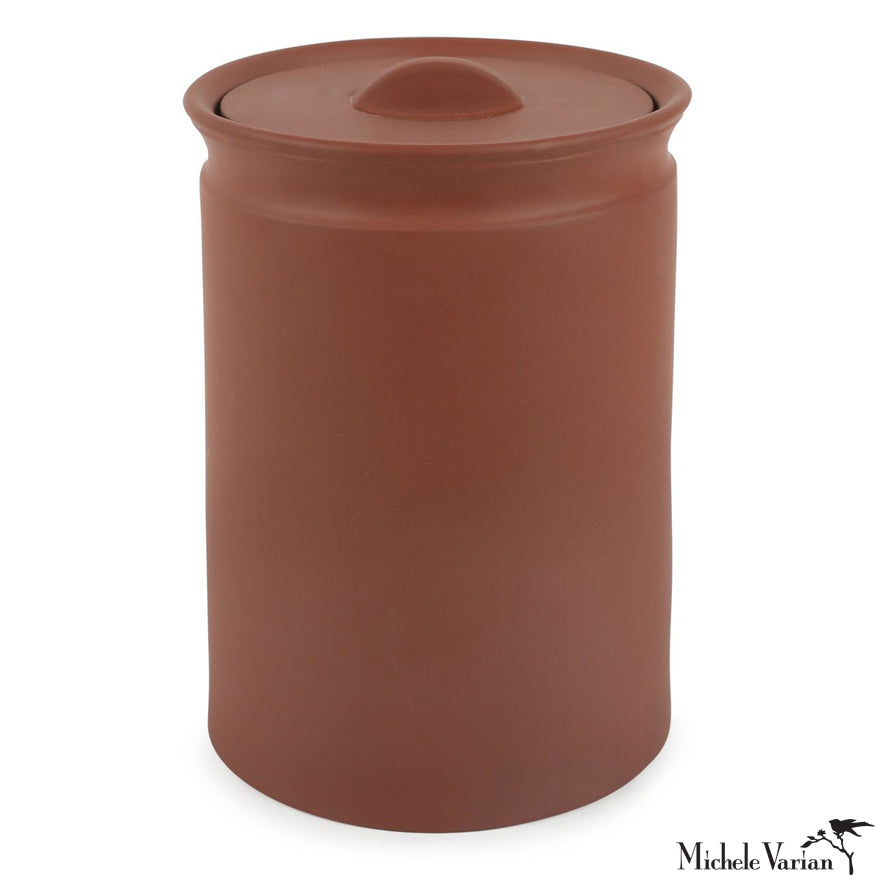 Matte Terracotta Lidded Stoneware Jar Large