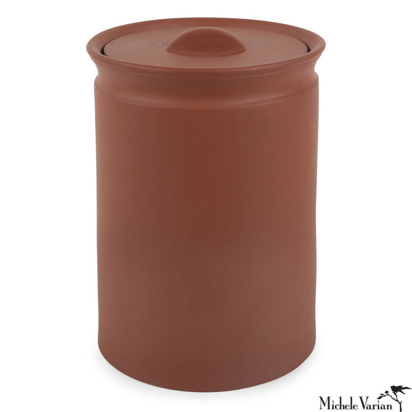 Matte Terracotta-Color Lidded Stoneware Jar Large