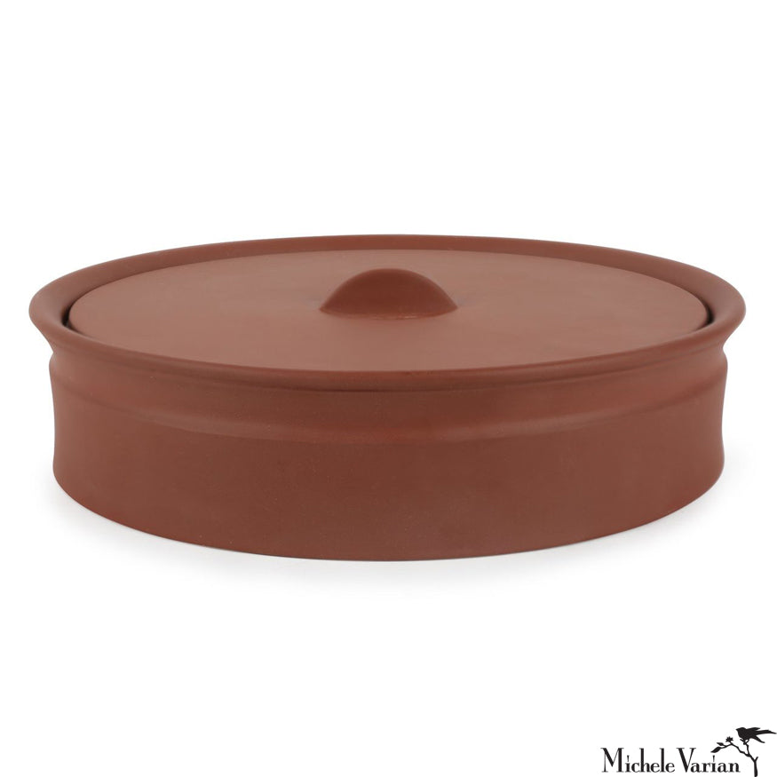 Matte Terracotta-Color Stoneware Lidded Low Stoneware Crock