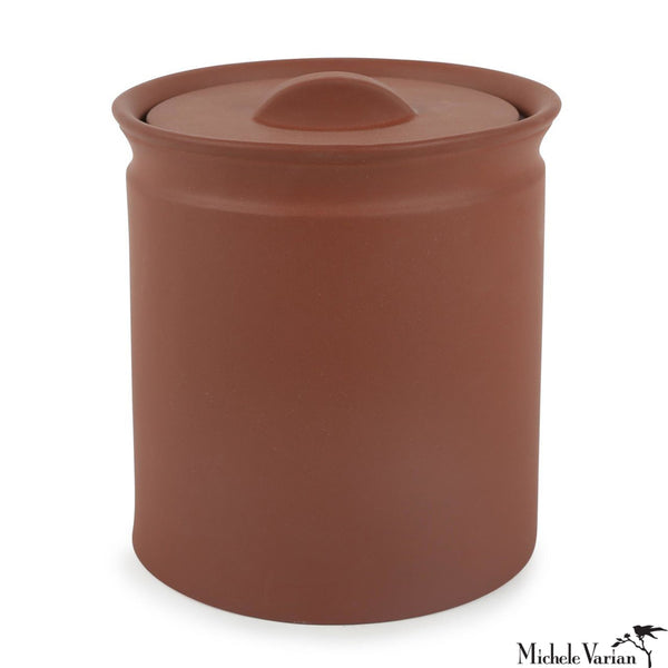 Matte Terracotta-Color Stonware Lidded Jar Medium