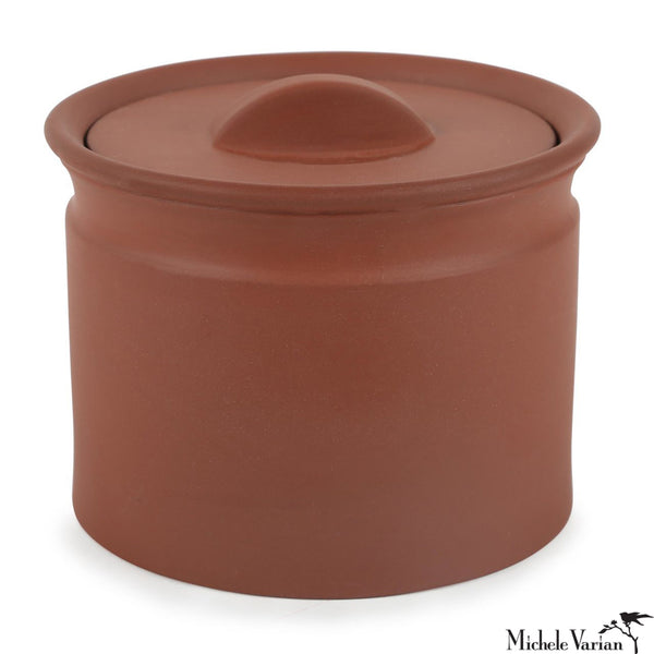Matte Terracotta-Color Lidded Stoneware Jar Small