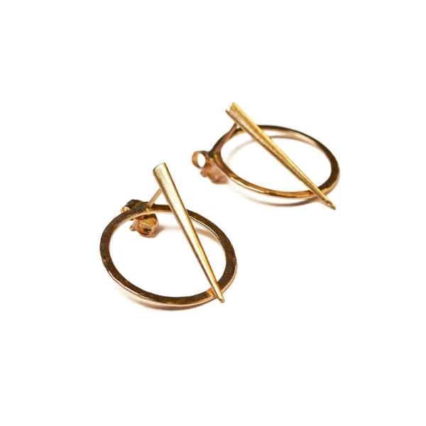 Telson Orbit Gold Stud Earrings