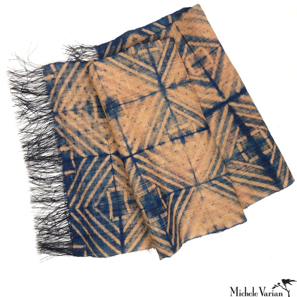 Raffia Panel Fold Blue & Natural Square Pattern