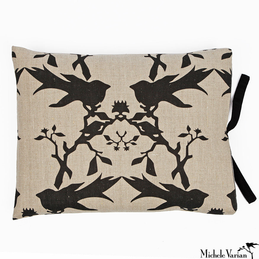 Printed Linen Pillow Thornbird Natural 14x18