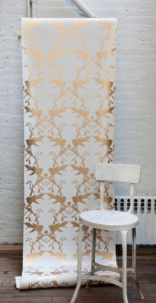 Thornbird Wallpaper Snow Bronze