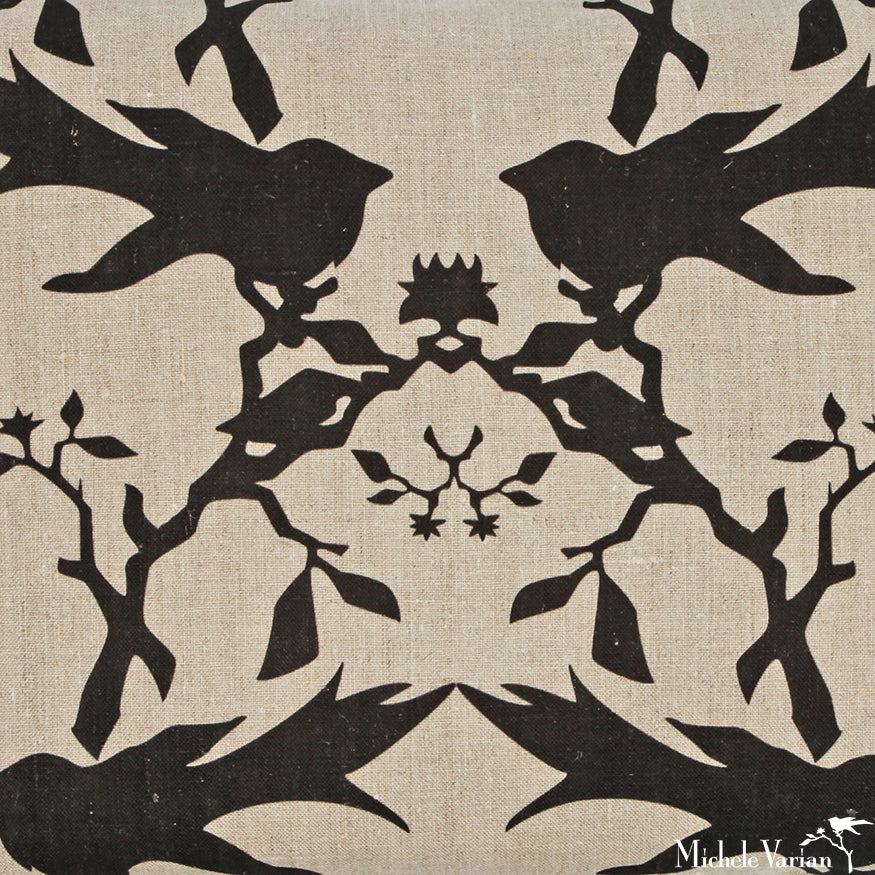 Thornbird Printed Linen in Flax Almost Black