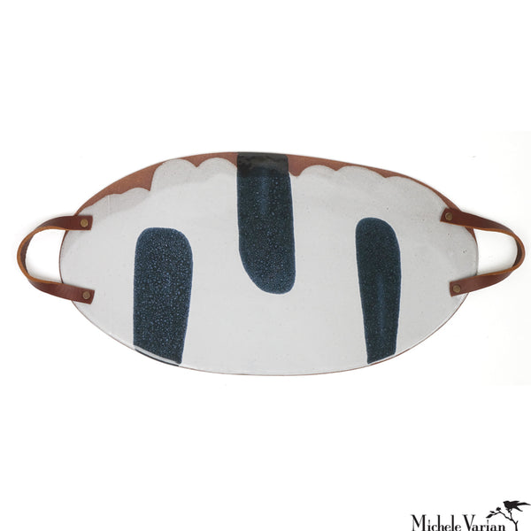 Blot Painted Large Clay Platter with Double Leather Handles