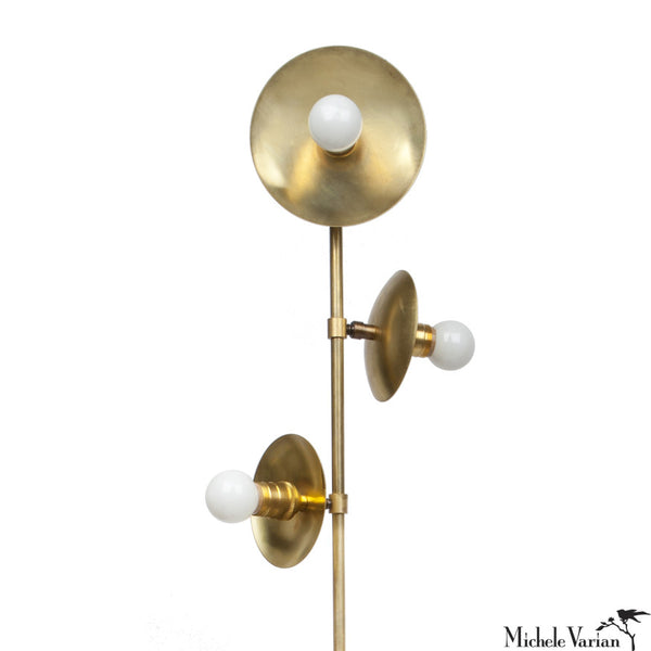 Brass Three Bulb Pivoting Blossom Floor Lamp