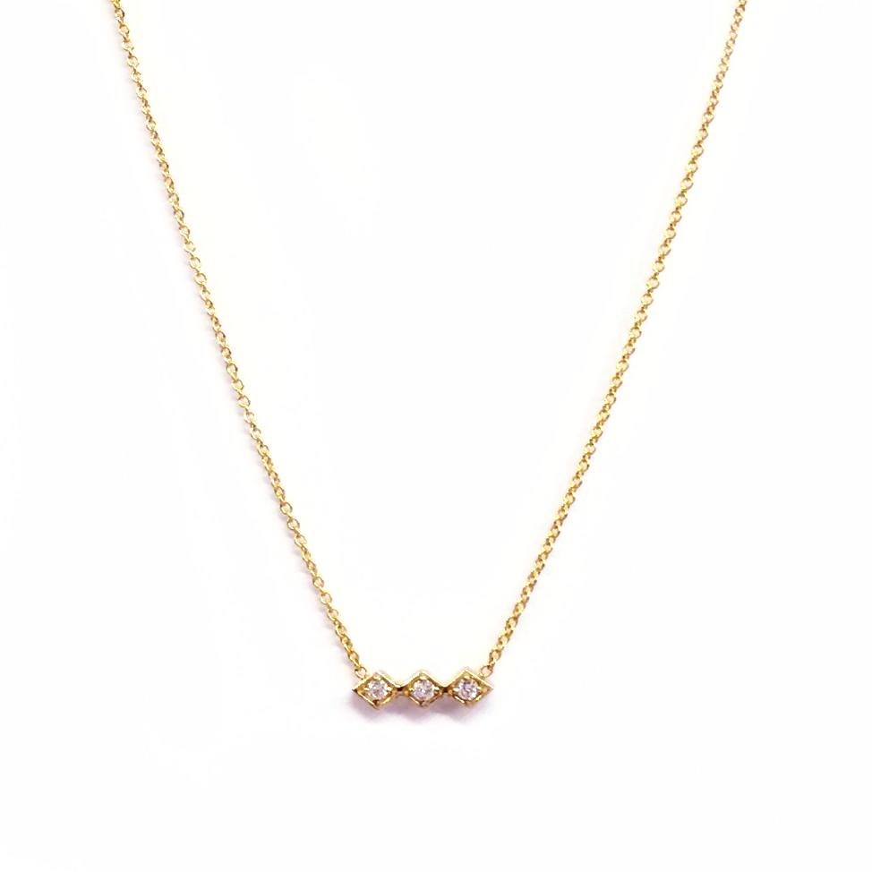 Gold Three Diamond Necklace