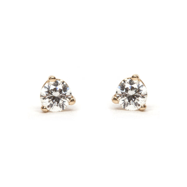 Three Prong Diamond Stud Earrings