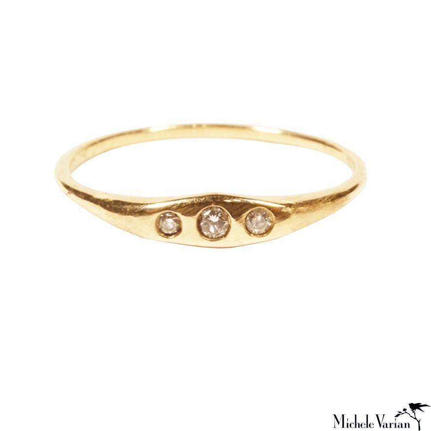 Three Diamonds Gold Ring