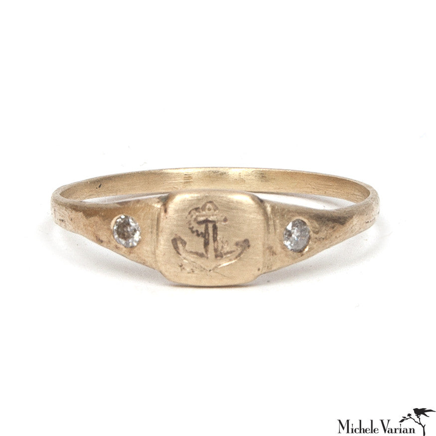 Tiny Anchor Signet Ring