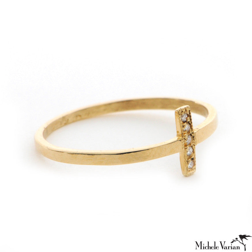 Pave White Diamond Gold Tiny Bar Ring