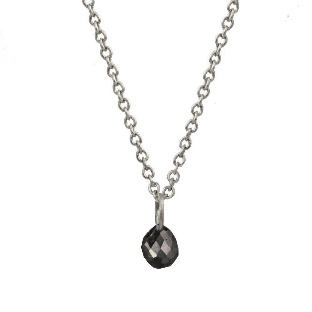 Silver Black Diamond Briolette Necklace