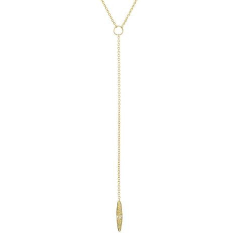 Cresent  Diamond and Gold Lariat Necklace