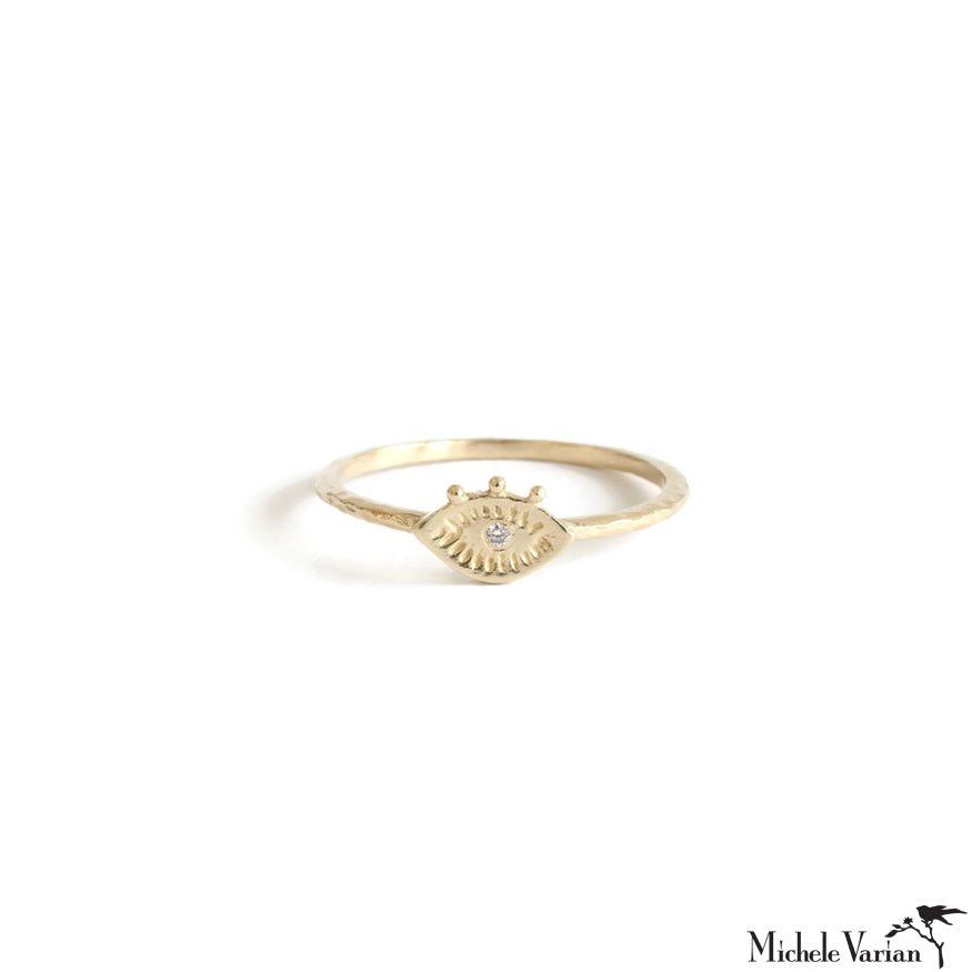 Tiny Evil Eye Diamond Gold Ring