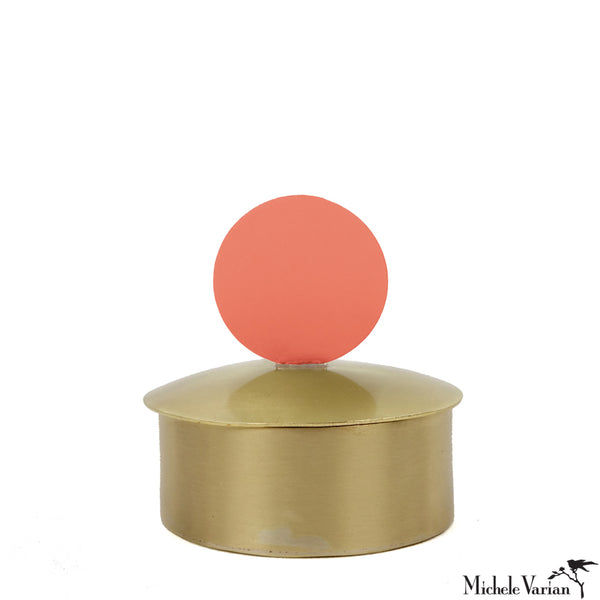Tiny Polished Brass Lidded Box Coral Less Small