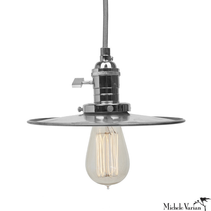 Discus Retro Industrial Pendant Light Fixture 8 inch in Steel
