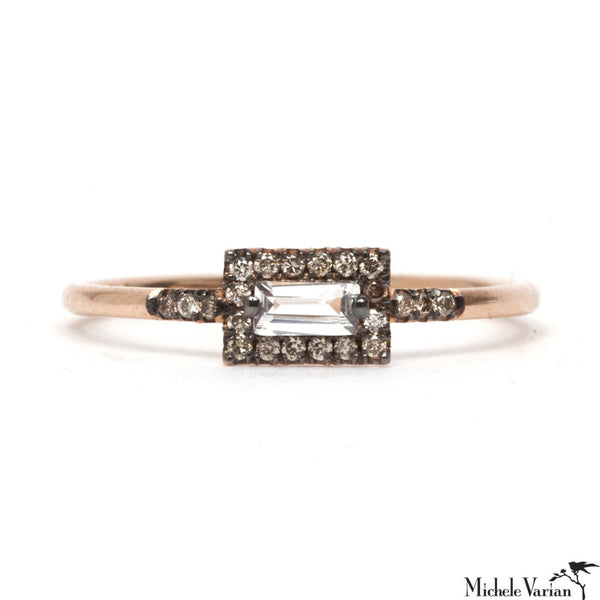 Rose Gold White Topaz Baguette Ring