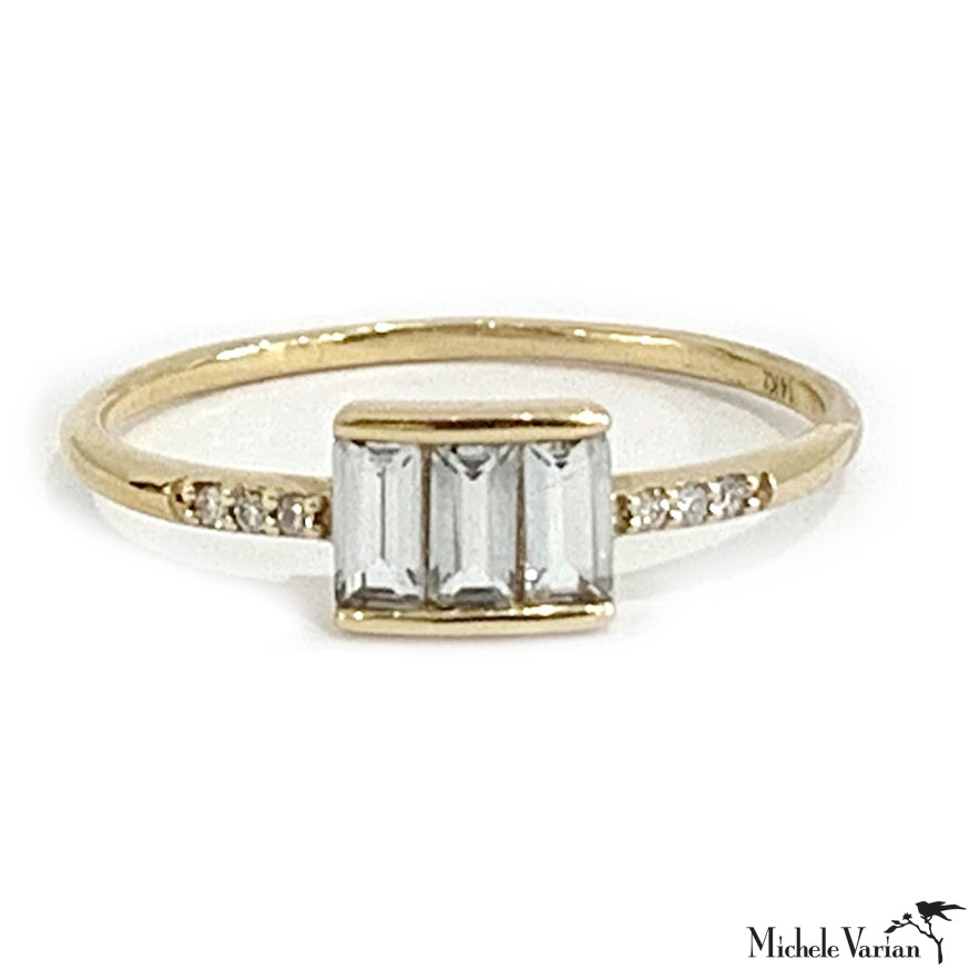 White Diamond and Topaz Gold Ring