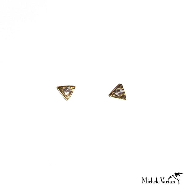 Tiny Triangle and Diamond Stud Earrings
