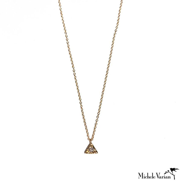 Tiny Triangle and Grey Diamond Necklace