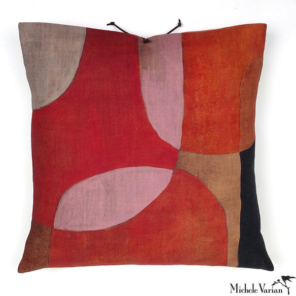 Printed Linen Pillow Transparencies Rouge 20x20