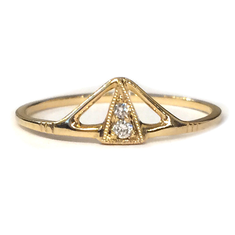 Gold Triangle Diamond Ring