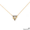 Gold and Diamond Leaf Triangle Necklace