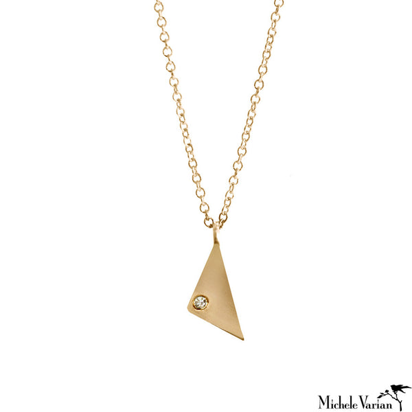 Tiny Triangle and Diamond Gold Necklace