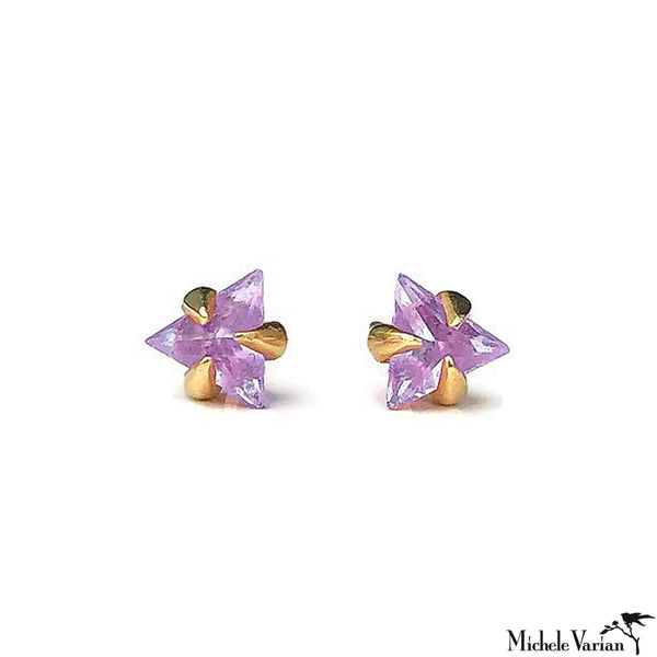 Trillion Amethyst Stud Earrings