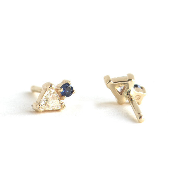 Trillion Diamond and Sapphire Stud Earring